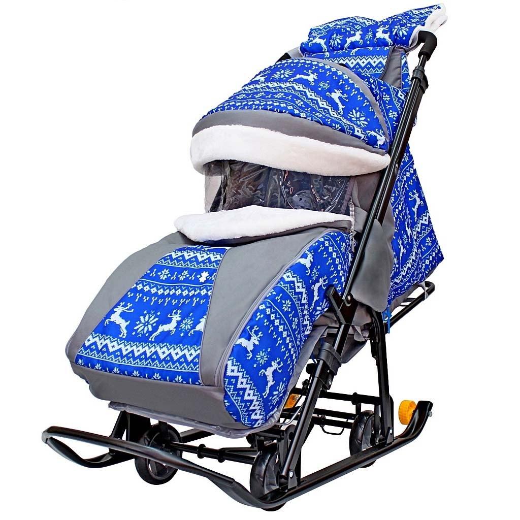 Купить Санки-коляска Galaxy Snow Luxe Зимняя ночь Олени, сумка + муфта,