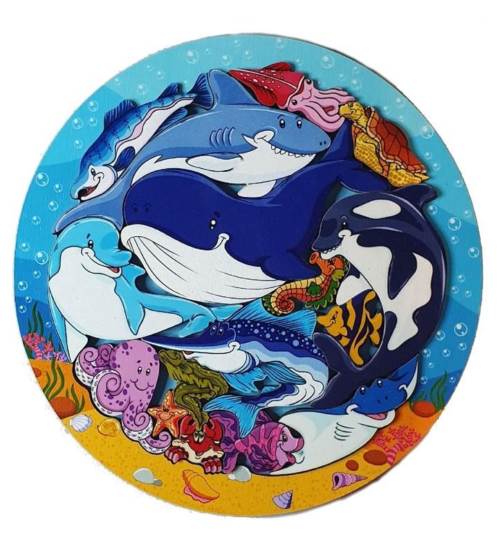 деревянный зоопазл Бэмби подводный мир 16 деталей