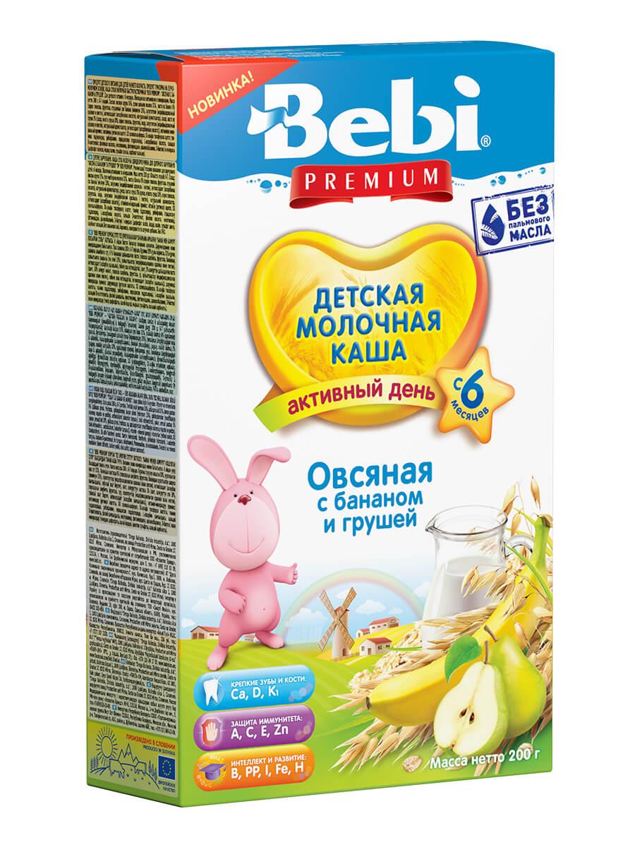 Купить Молочная каша Bebi Premium овсяная с бананом и грушей с 6 мес., 200 г, Детские каши