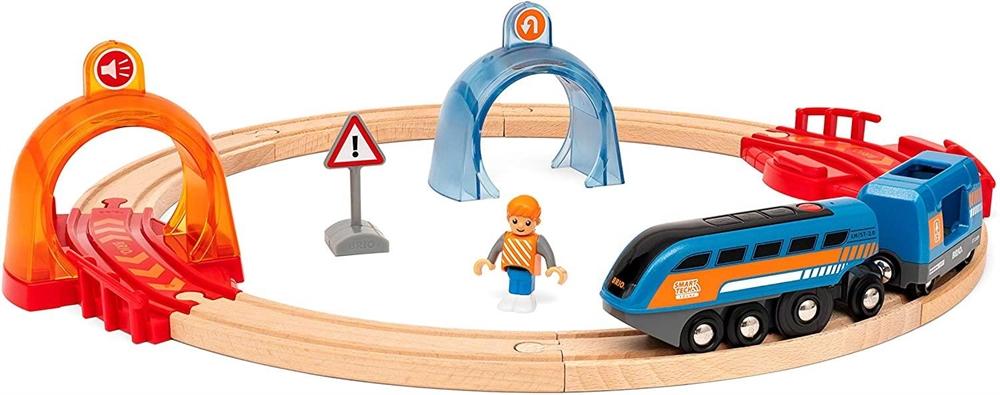 Купить Smart Tech BRIO Деревянная железная дорога с управляющими тоннелями БРИО свет звук 33974, Деревянная железная дорога Smart Tech Brio с управляющими тоннелями,