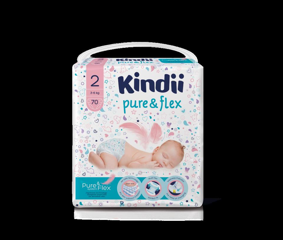 Подгузники одноразовые для детей KINDII PURE&FLEX 2/S (3-6 кг), 70 шт.