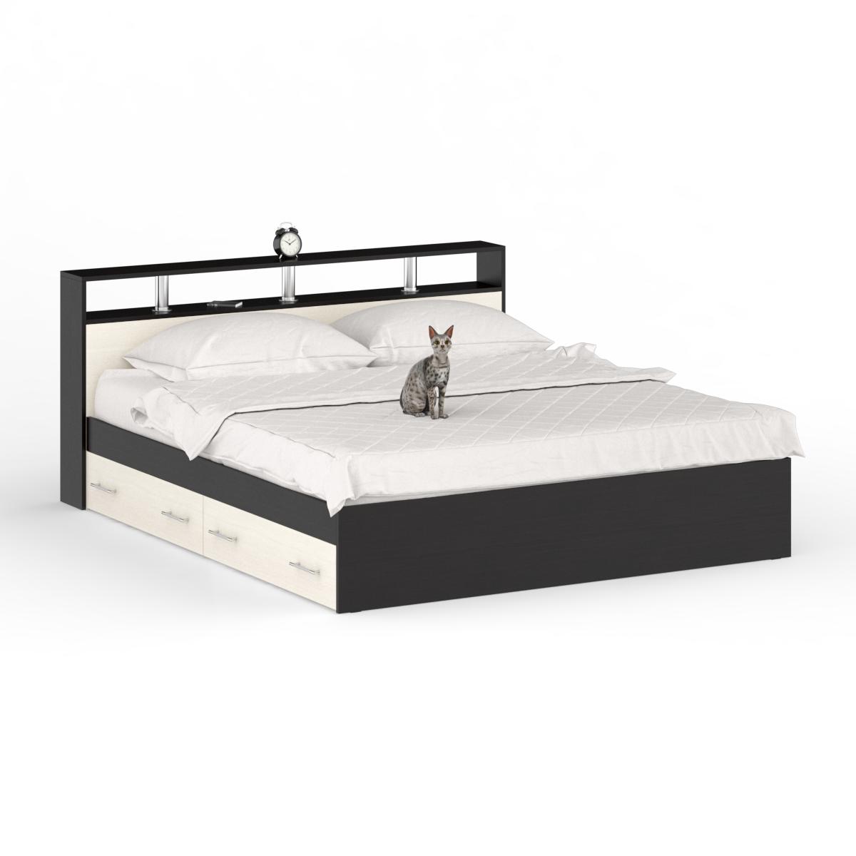 Кровать с ящиками Камелия 1600+Осн венге/дуб лоредо,