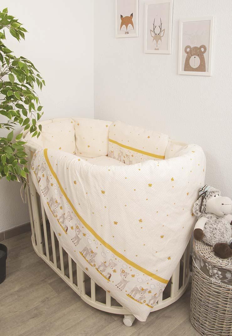 Купить Комплект в детскую кроватку Сонный гномик Оленята, 6 предметов, цвет: бежевый,