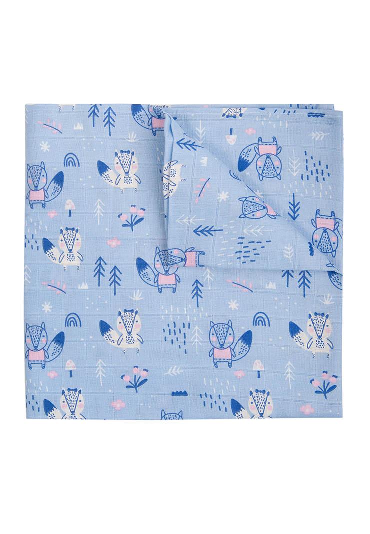 Купить Муслиновая пеленка для малыша Лисы, цвет: синий с рисунком, 120х120 см Сонный гномик,
