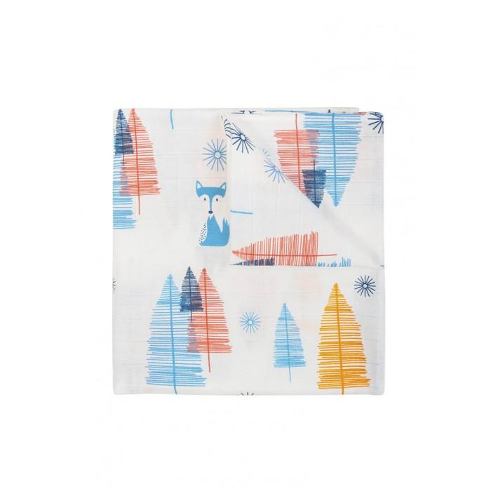 Купить Муслиновая пеленка для малыша Ёлочки, цвет: белый, 120х120 см Сонный гномик,