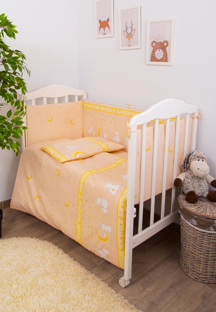 Купить Комплект в детскую кроватку Сонный гномик Мечтатели, 6 предметов, цвет: персиковый,