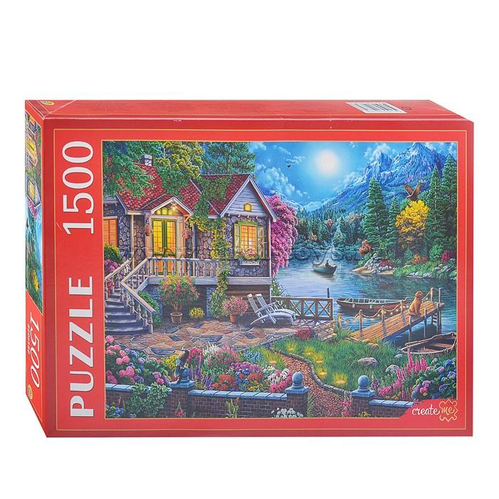 Купить Пазлы Домик у лунного озера, 1500 элементов Рыжий кот,