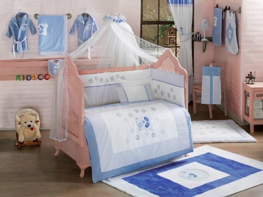 Купить Комплект в кроватку Kidboo Panda цвет: голубой, 6 предметов,