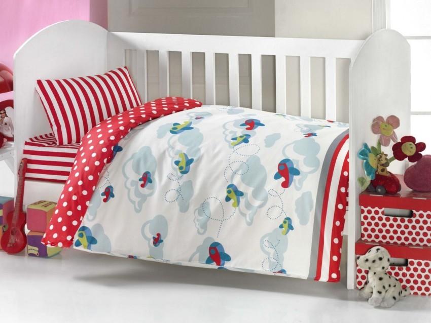 Купить Комплект постельного белья Kidboo серия Самолёт, 6 предметов, цвет: красный, арт. KIDB,