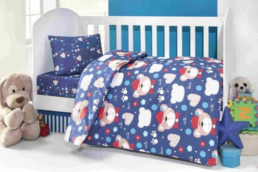 Купить Комплект постельного белья Kidboo ТМ UPS PUPS серия Мишка, цвет: синий, 6 предметов,