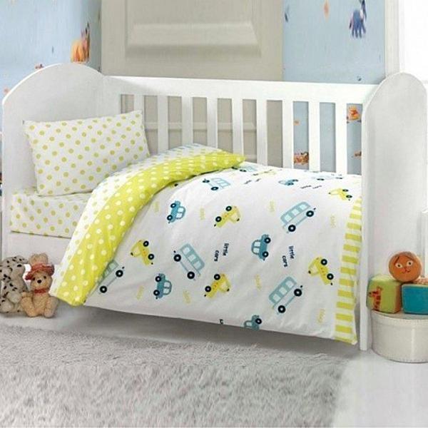 Купить Комплект постельного белья Kidboo ТМ UPS PUPS серия Машинка, цвет: желтый, 6 предметов,