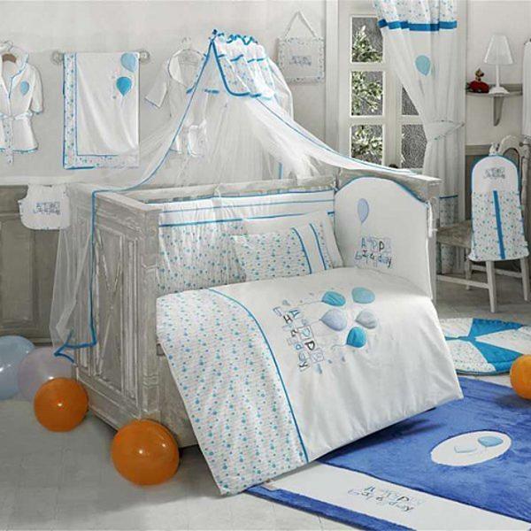 Купить Комплект постельного белья Kidboo Happy Birthday цвет: голубой, 4 предмета, арт. KIDB,