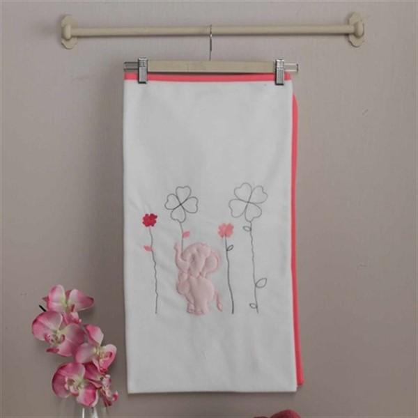 Купить Плед Kidboo Elephants цвет белый/розовый, велсофт Kidboo,