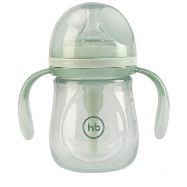 Бутылочка антиколиковая с силиконовой соской Happy Baby с ручками цвет: olive, 180 мл