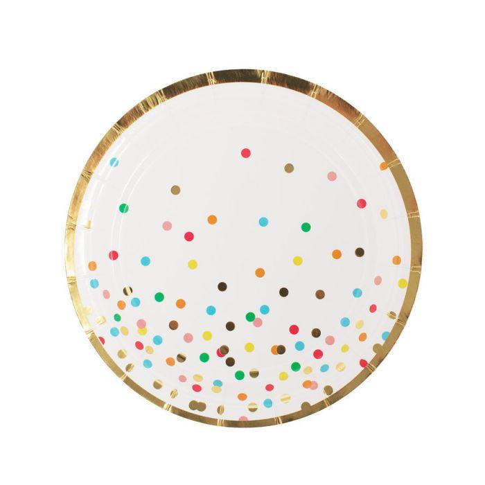 Тарелка  Белая с разноцветными кружочками,