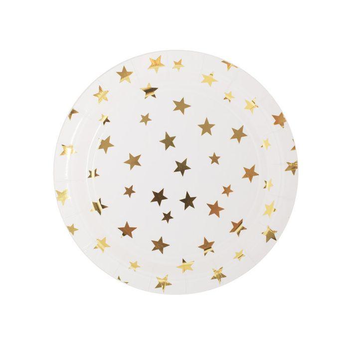 Тарелка  Белая с золотыми звездами,
