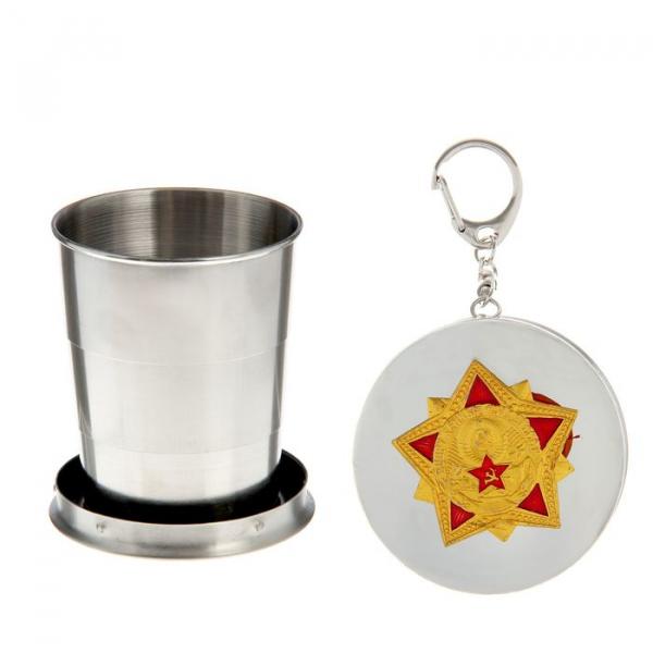 Стакан складной, d=6,5 см, 3 кольца, с карабином и звездой