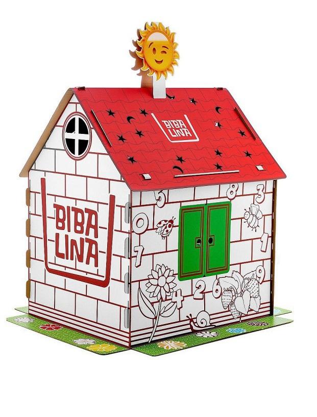 Купить Картонный домик BibaLina MAX, с английским алфавитом и наклейками,