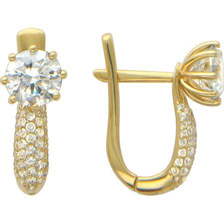 Серьги женские из золота Эстет 01С134877, фианит