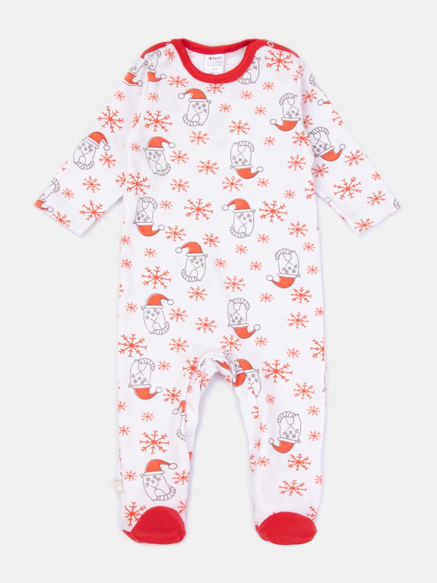 Купить 6250744, Комбинезон детский КотМарКот цв. белый; красный р.62,