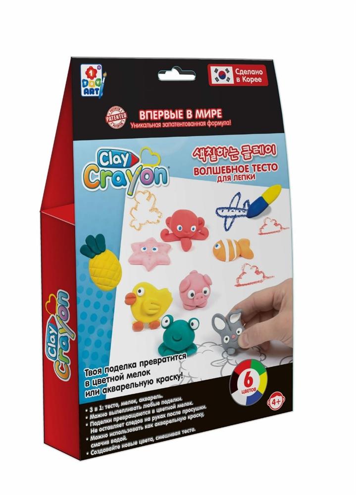 Купить Clay Crayon Набор тесто мелки для лепки и рисования (6 цветов по 30 гр) Т19007 1Toy Art, Набор тесто-мелков 1TOY Art Clay Crayon Т19007 6 цветов по 30 г, 1 TOY,