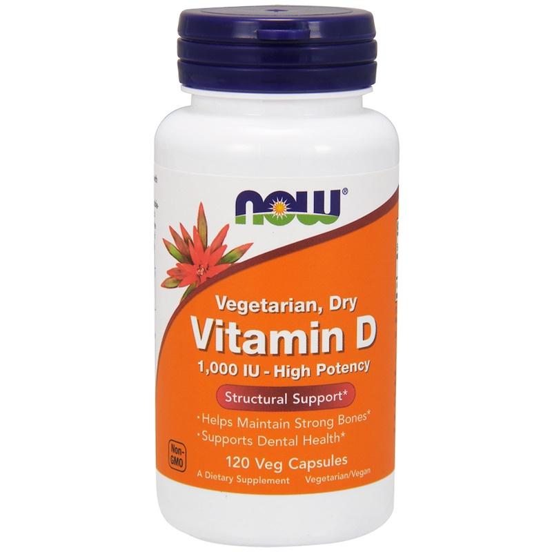 Купить Витамин D 1000 МЕ, Витамин D Now высокоактивный 1000 МЕ растительные капсулы 120 шт.