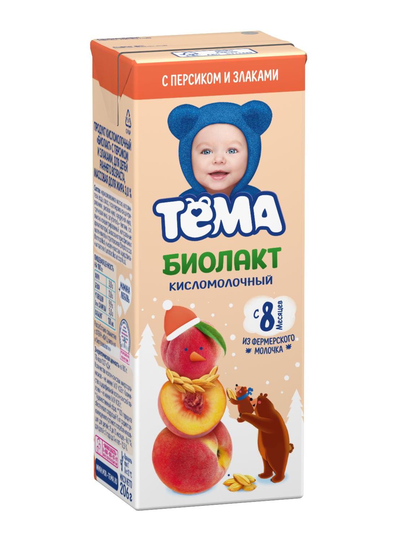 Купить Продукт к/м тема биолакт бзмж с 8мес персик/злаки жир. 3 % 206 г тп данон россия, Тёма,