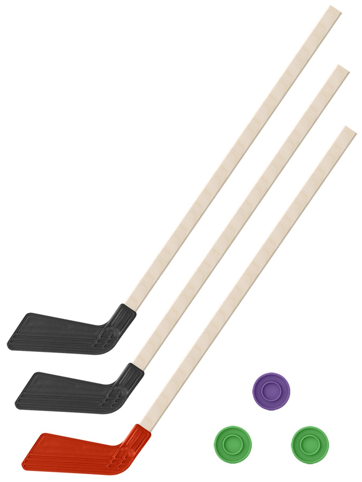Купить Хоккейный набор 3 в1 Задира-плюс Клюшки 80 см (2 черных, 1 красная) + 3 шайбы,