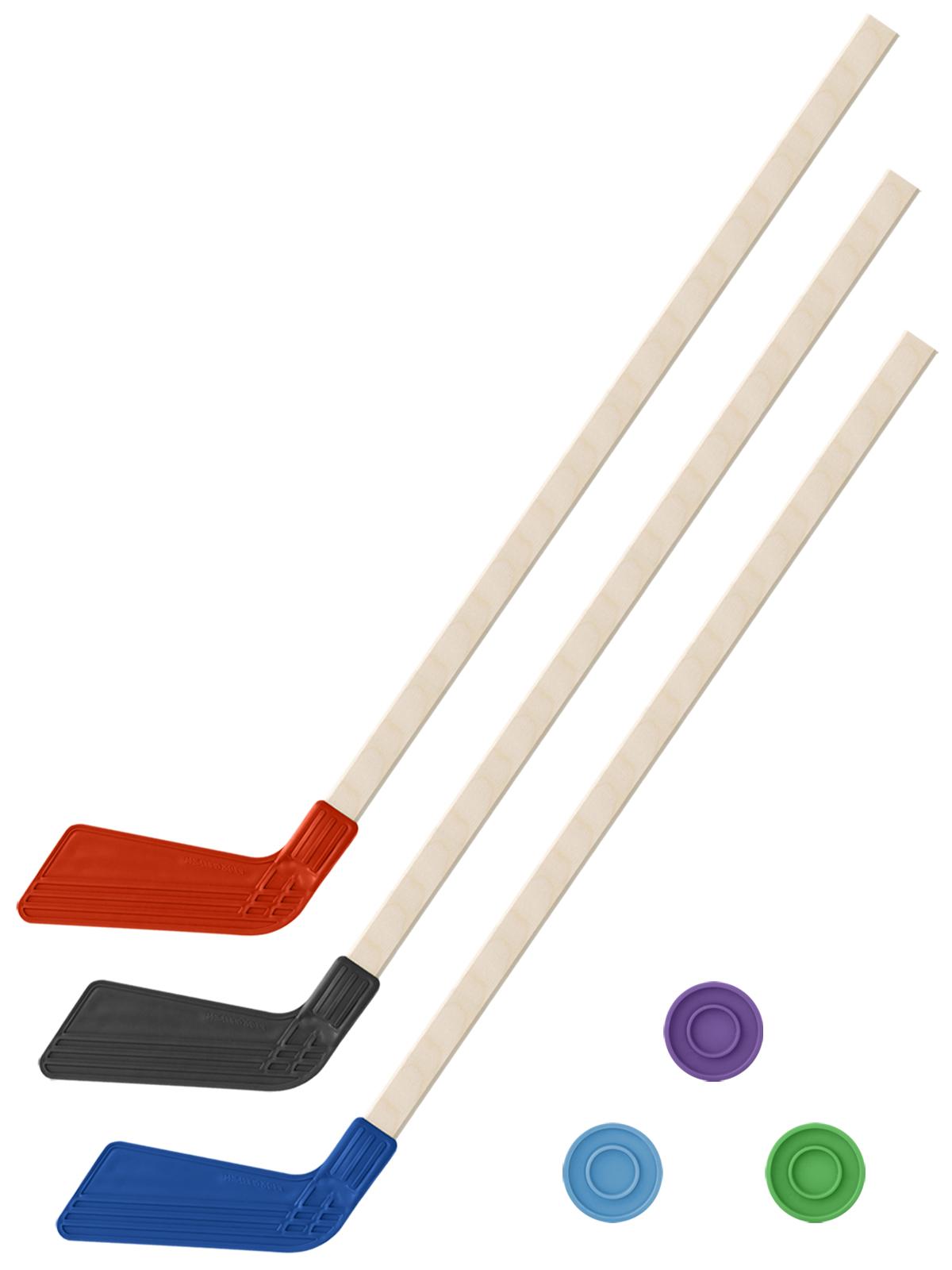 Купить Хоккейный набор 3 в1 Задира-плюс Клюшки 80 см красная, черная, синяя + 3 шайбы,