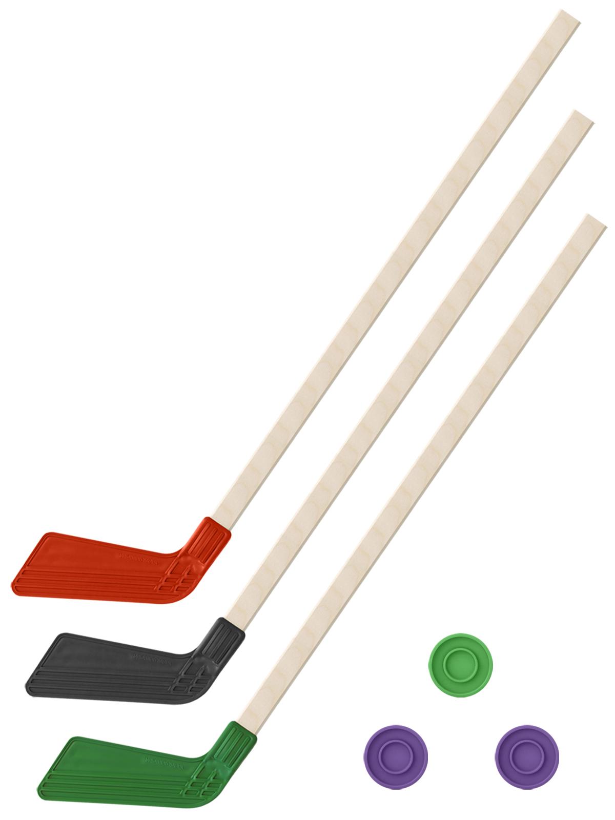 Купить Хоккейный набор 3 в1 Задира-плюс Клюшки 80 см красная, черная, зеленая +3 шайбы,
