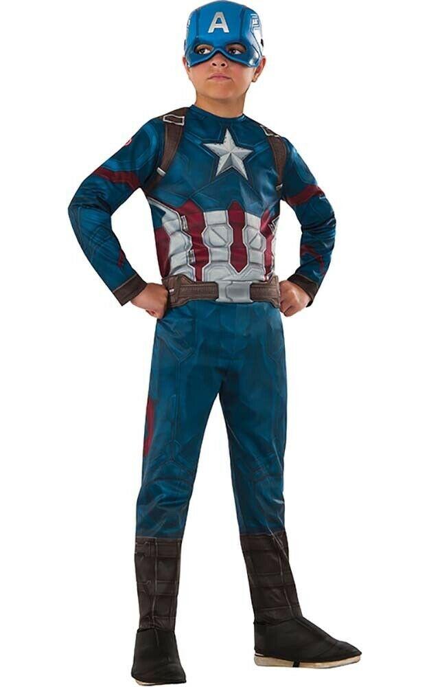 Купить 641423, Карнавальный костюм Rubies Капитан Америка, цв. синий р.128,