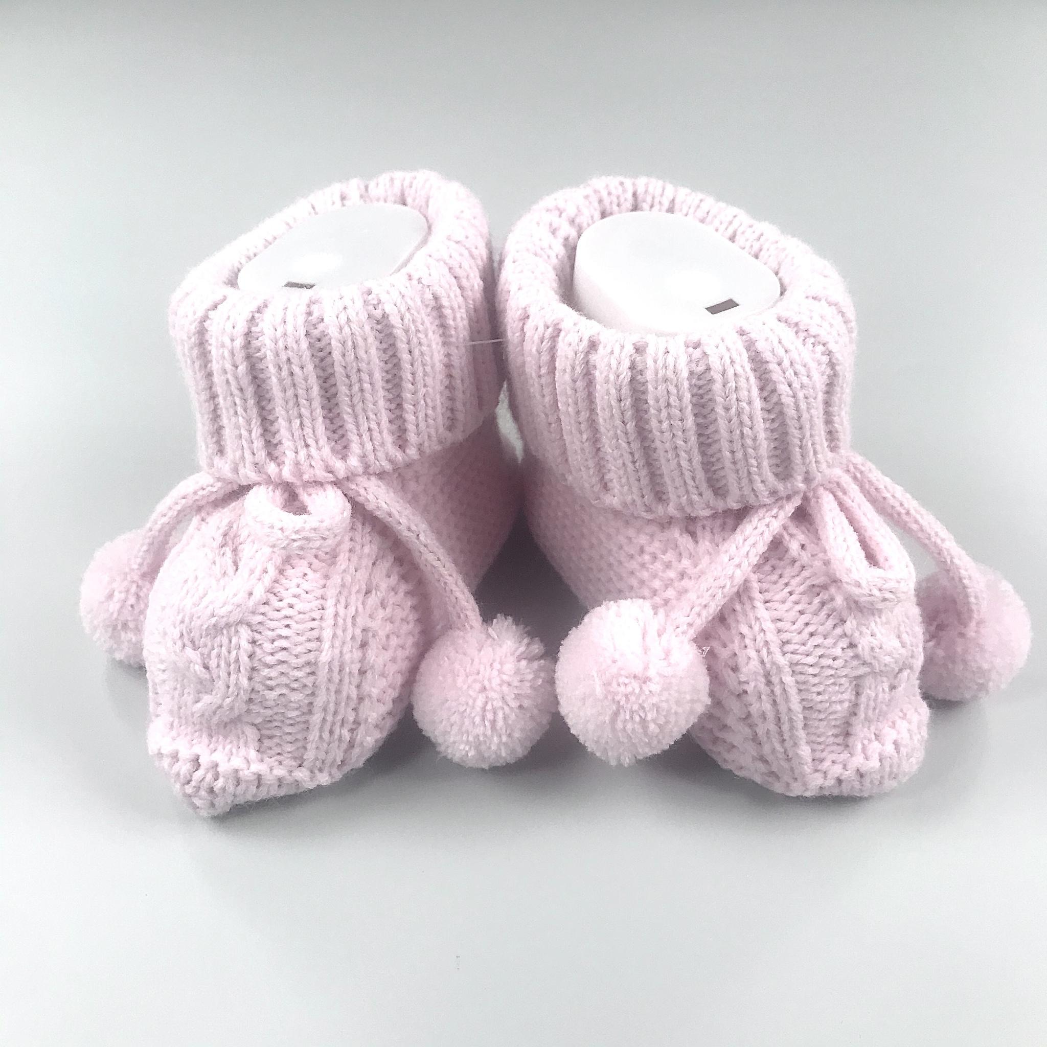 Пинетки Bebikan вязанные на завязках  розовые