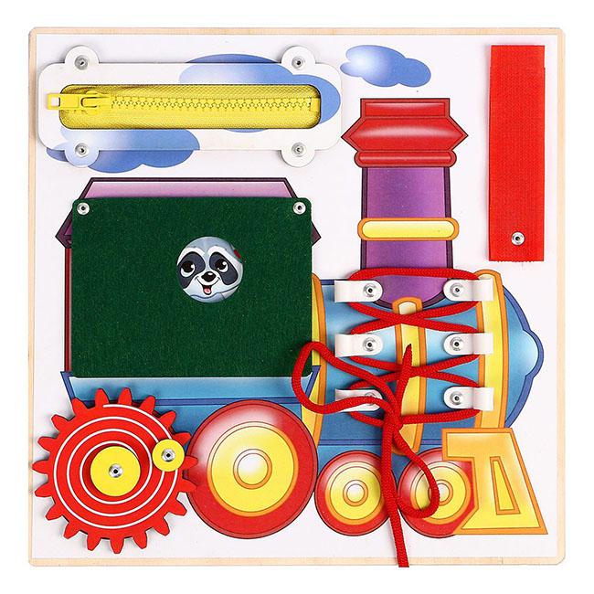 Бизиборд Веселый паровозик, 25х25 см арт. 0001579