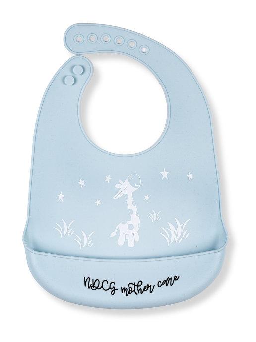 Купить Слюнявчик нагрудник NDCG Mother Care для кормления силиконовый, голубой,