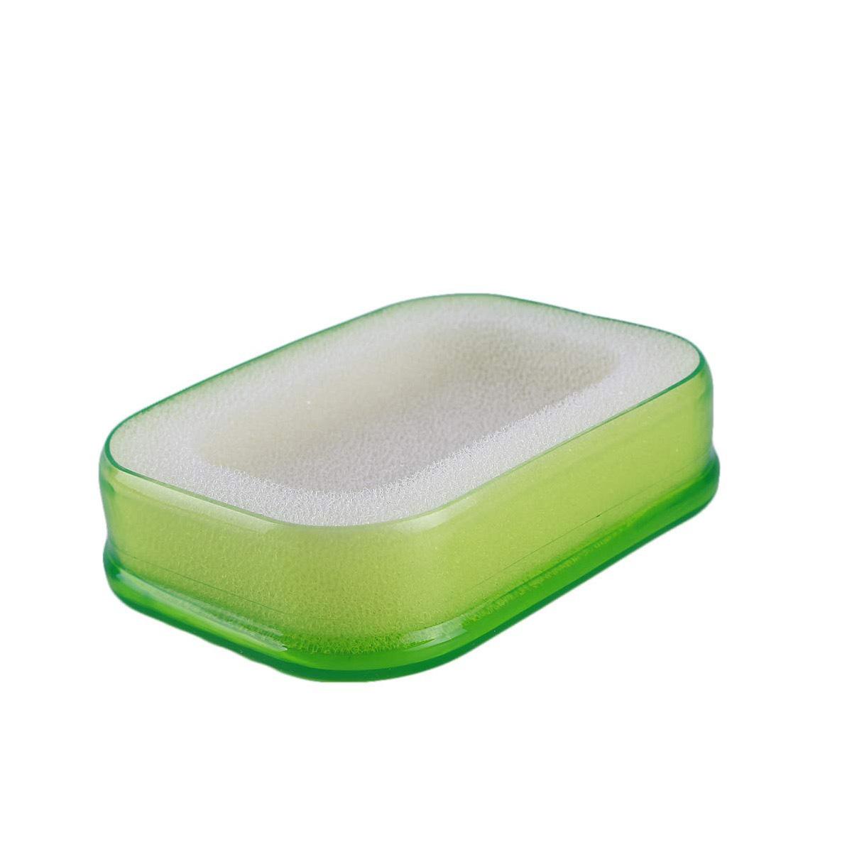 Мультифункциональная губка мыльница в пластиковой коробке, зелёный,
