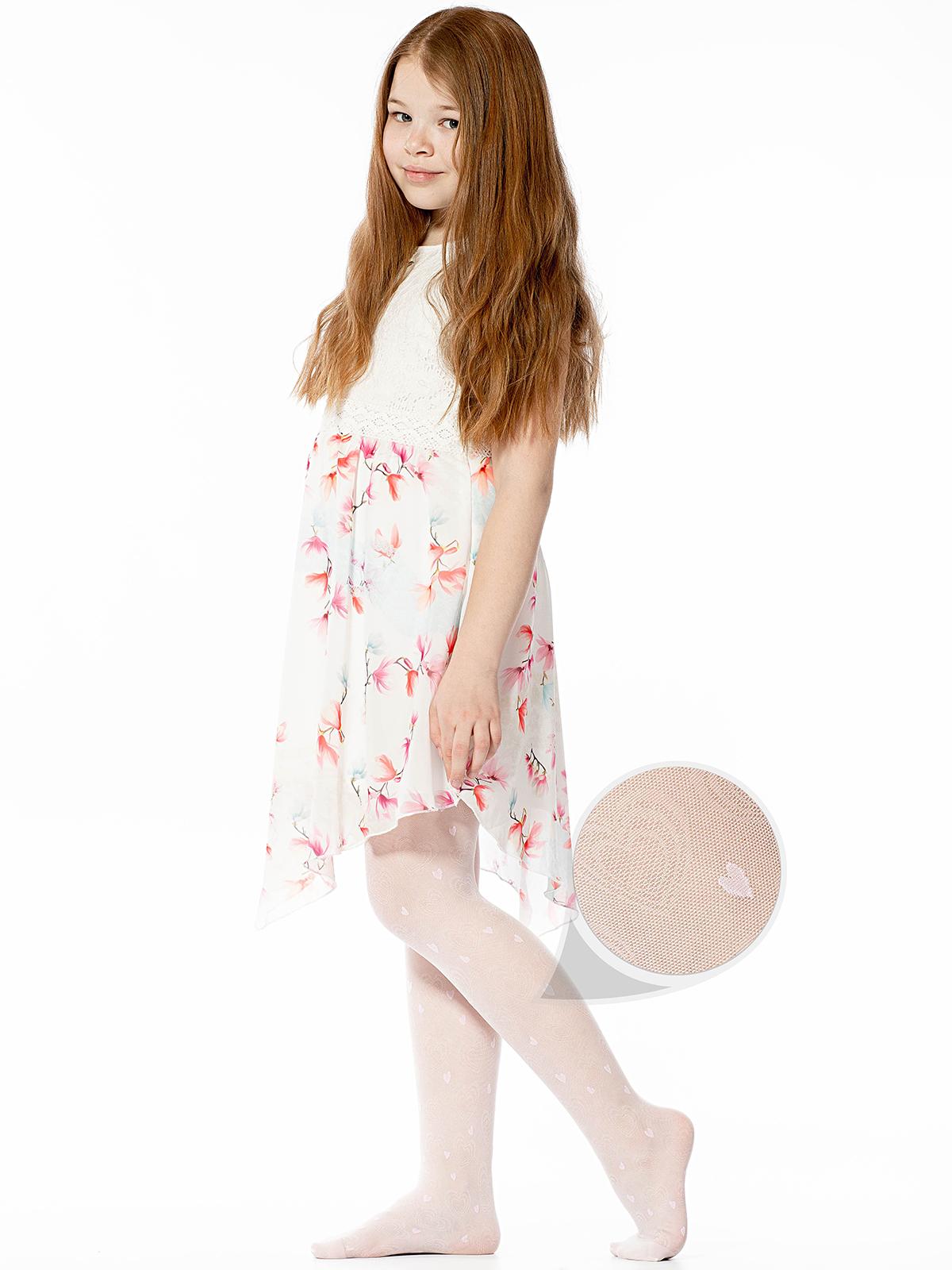 Купить Колготки детские Giulia Erin 01 bianco/pink gul, р. 128-134,