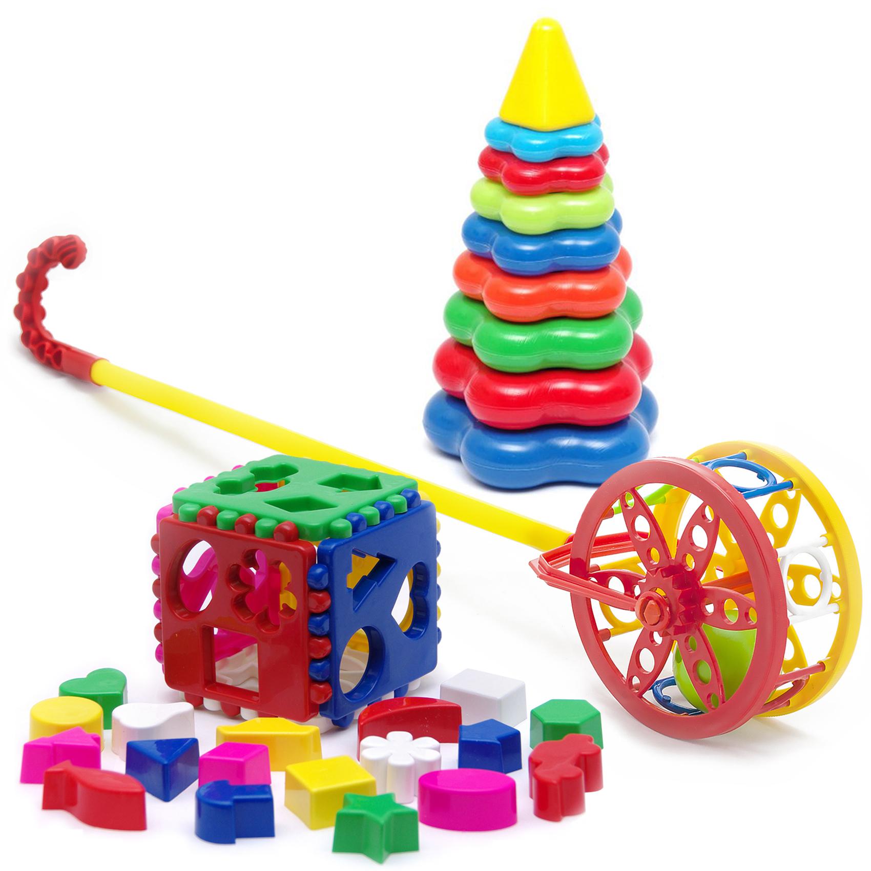 Купить Развивающие игрушки Karolina Toys 3в1 Каталка Колесо+Кубик лог. большой+Пирамида большая, Carolina Toys,