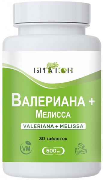 Купить Валериана + Мелисса, Валериана и Мелисса Биакон для нервной системы таблетки 500 мг 30 шт.