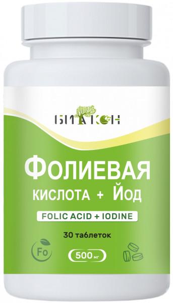 Купить Фолиевая кислота + Йод, Фолиевая кислота и Йод Биакон 500 мг таблетки 30 шт.