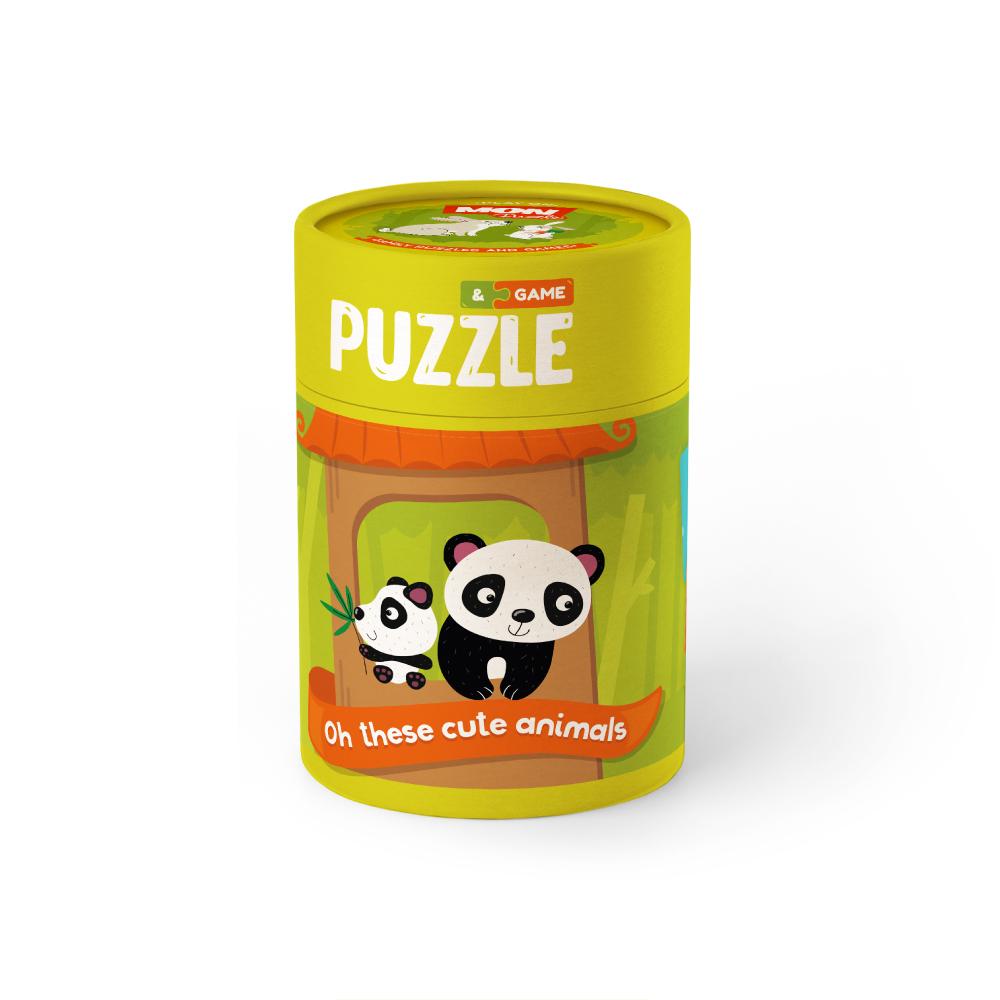 Купить Игровой набор MON Puzzle Зоология для Малышей. Хвостатые друзья, пазлы, карт. с заданиями,