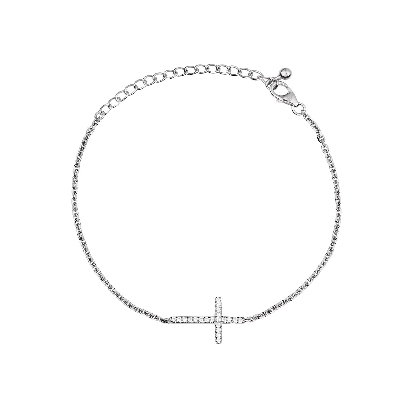 Браслет женский  Крест с камнями серебряный WANNA?BE! B004-11 р.20