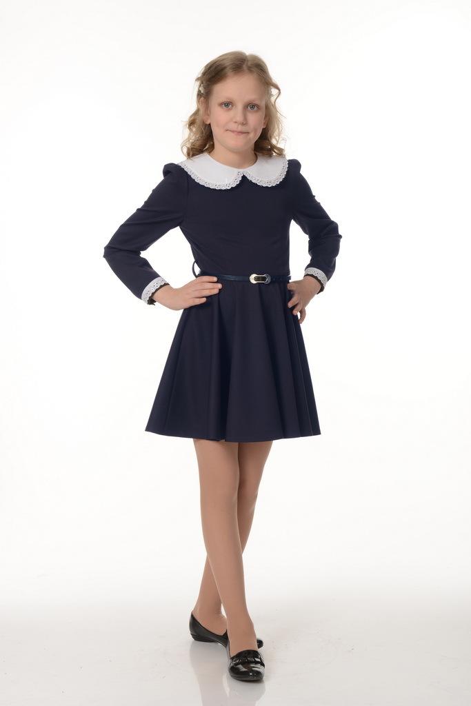 Купить Школьное платье для девочек SkyLake ШФ-816 Ностальжи цв. синий, р. 36/146, Платья для девочек