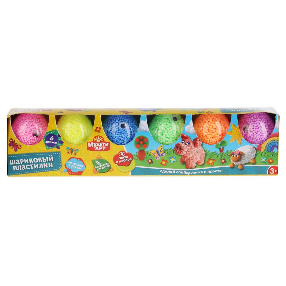 Набор шарикового крупнозернистого незастывающего пластилина Multiart + глаза, 6 цветов Multi Art