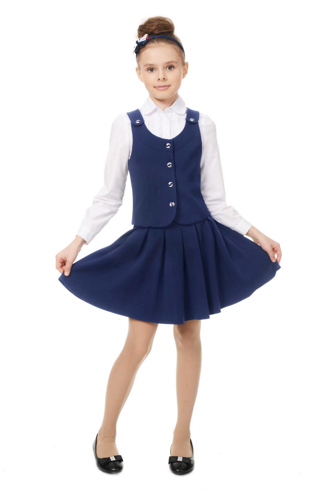 Купить Школьная юбка для девочек SkyLake ШФ-259 Рио цв. синий, р. 30/128, Юбки для девочек