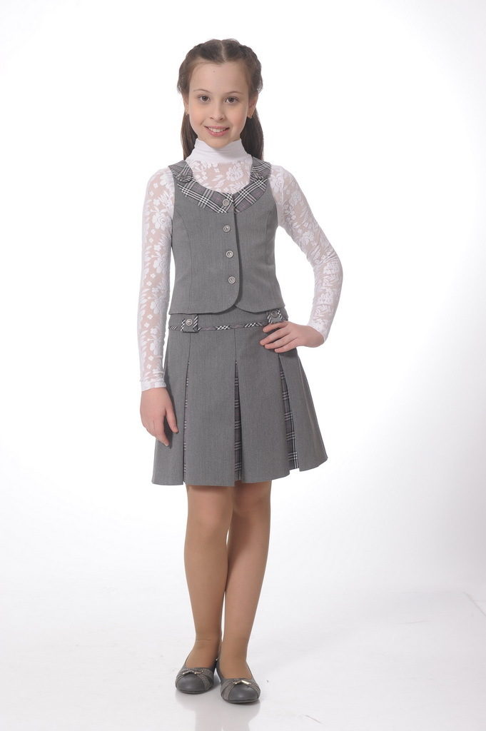 Купить Школьная юбка для девочек SkyLake ШФ-130 Диана цв. серый, р. 34/134, Юбки для девочек