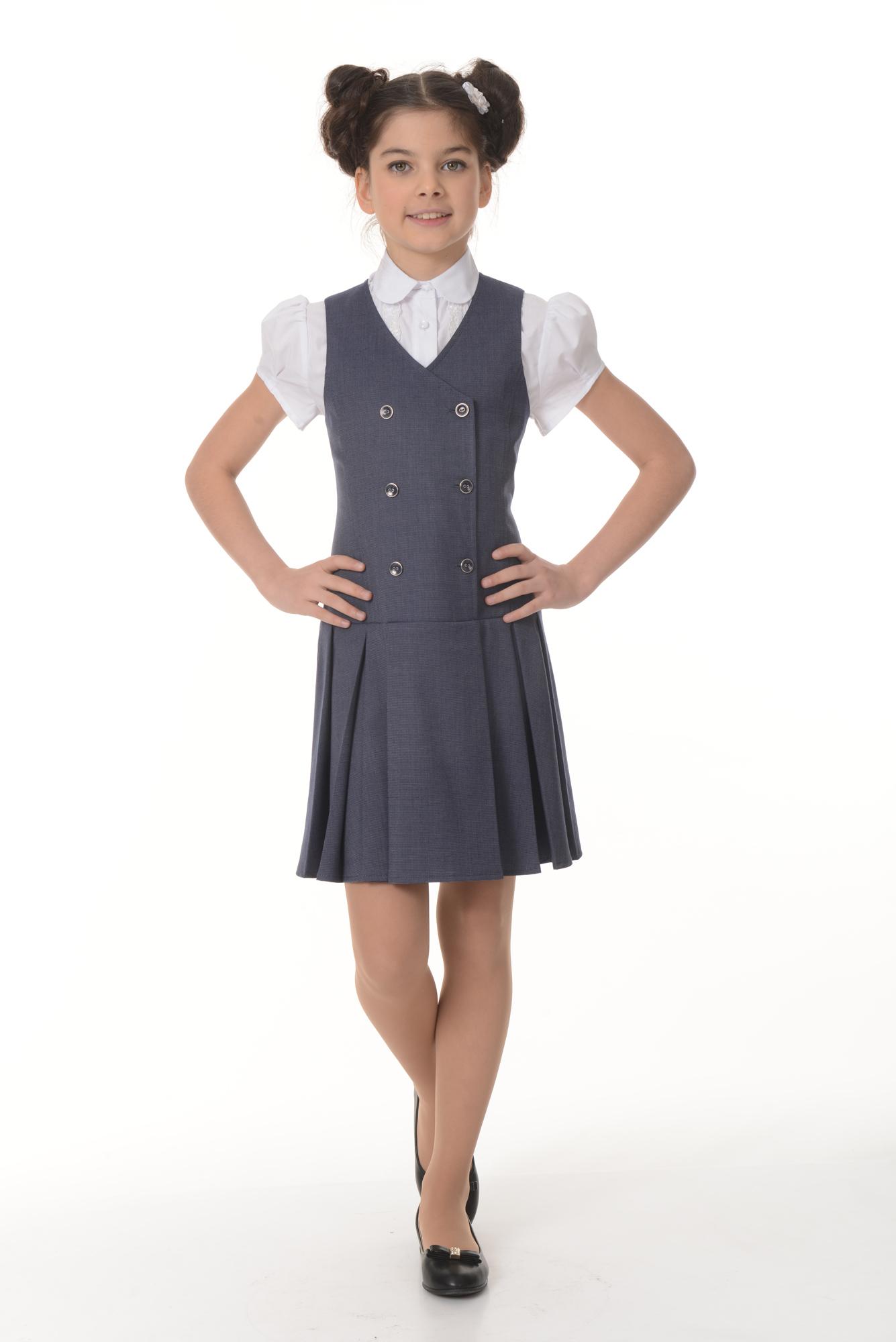 Купить Сарафан для девочек SkyLake ШФ-1147 Кембридж цв. синий, р. 36/146, Сарафаны для девочек