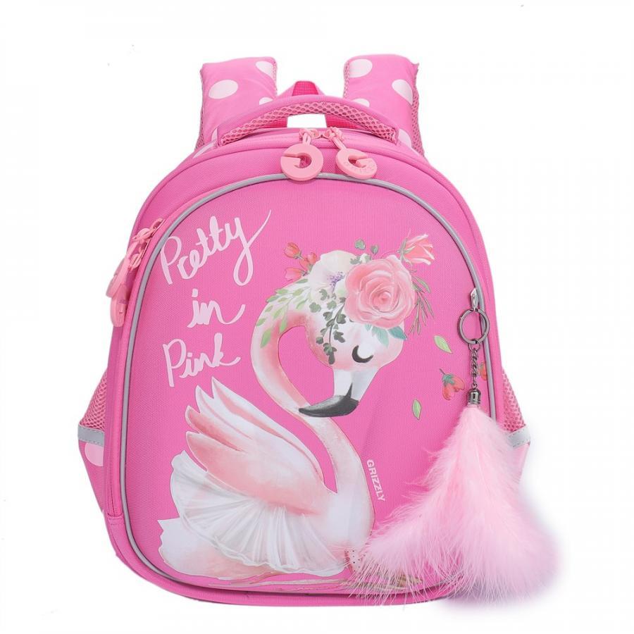 Купить Рюкзак школьный, цвет розовый арт. RAz-086-6/1, Grizzly, Школьные рюкзаки для девочек