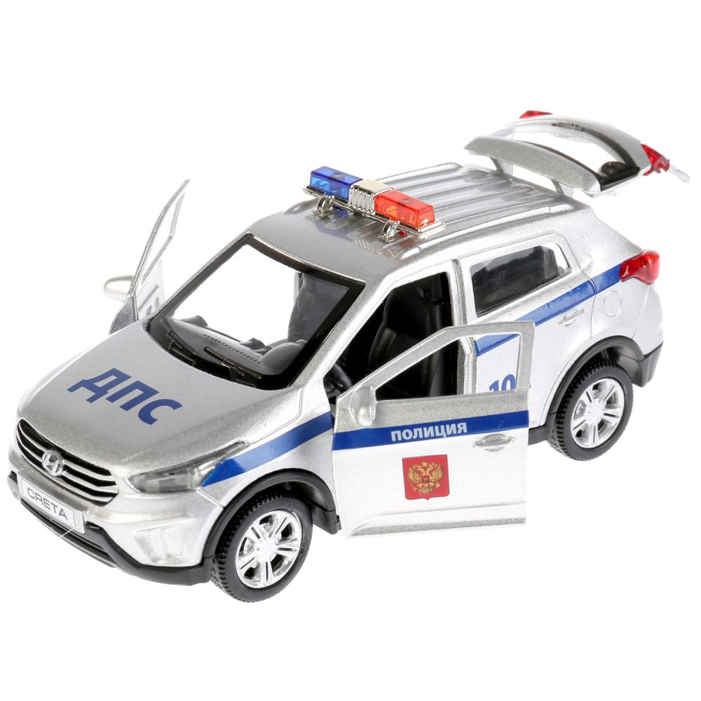 Технопарк Инерционная машина Hyundai Creta Полиция, металлическая, 12 см, свет-звук