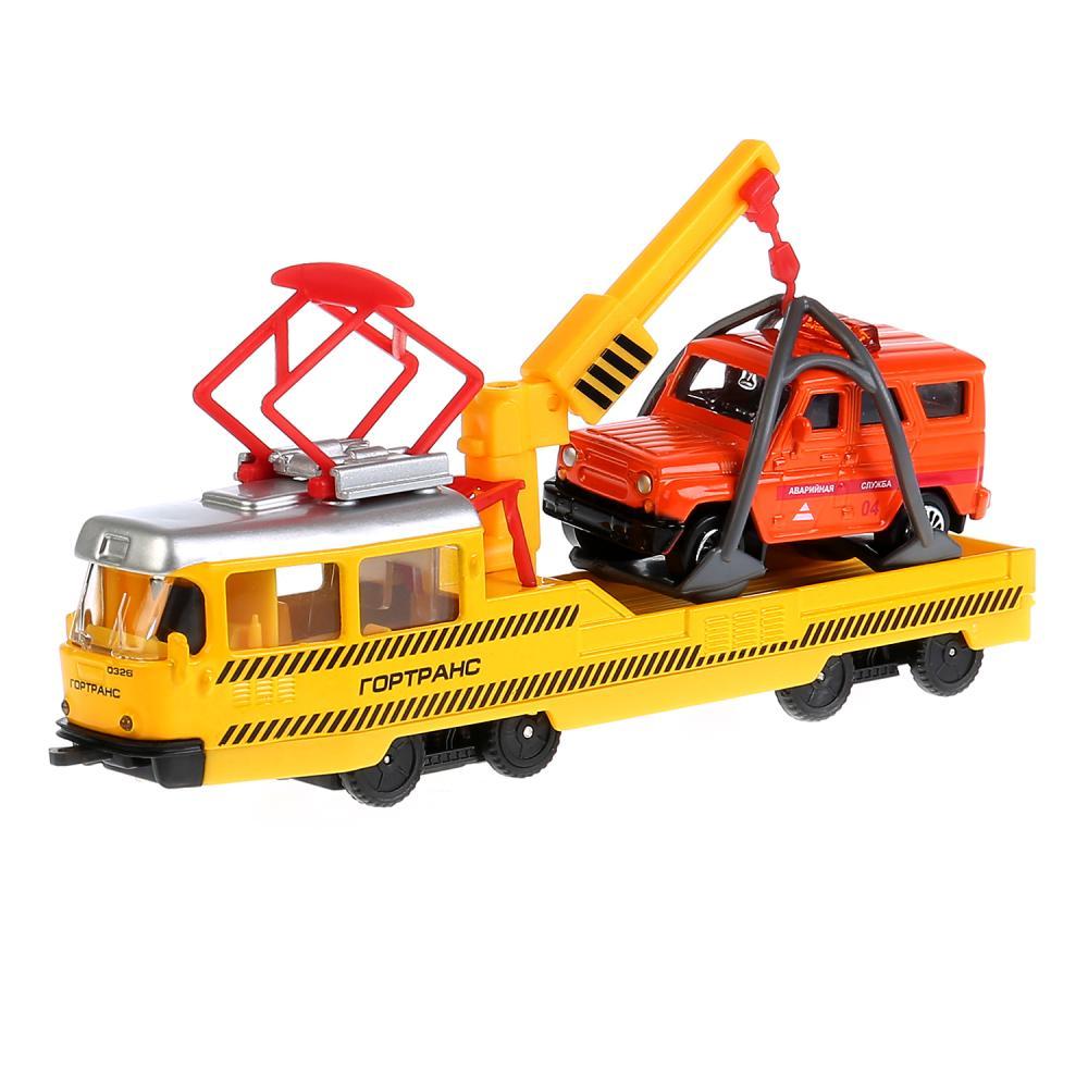 Купить Набор металлических машин Технопарк Ремонтный трамвай и УАЗ Hunter, 16, 5 см,