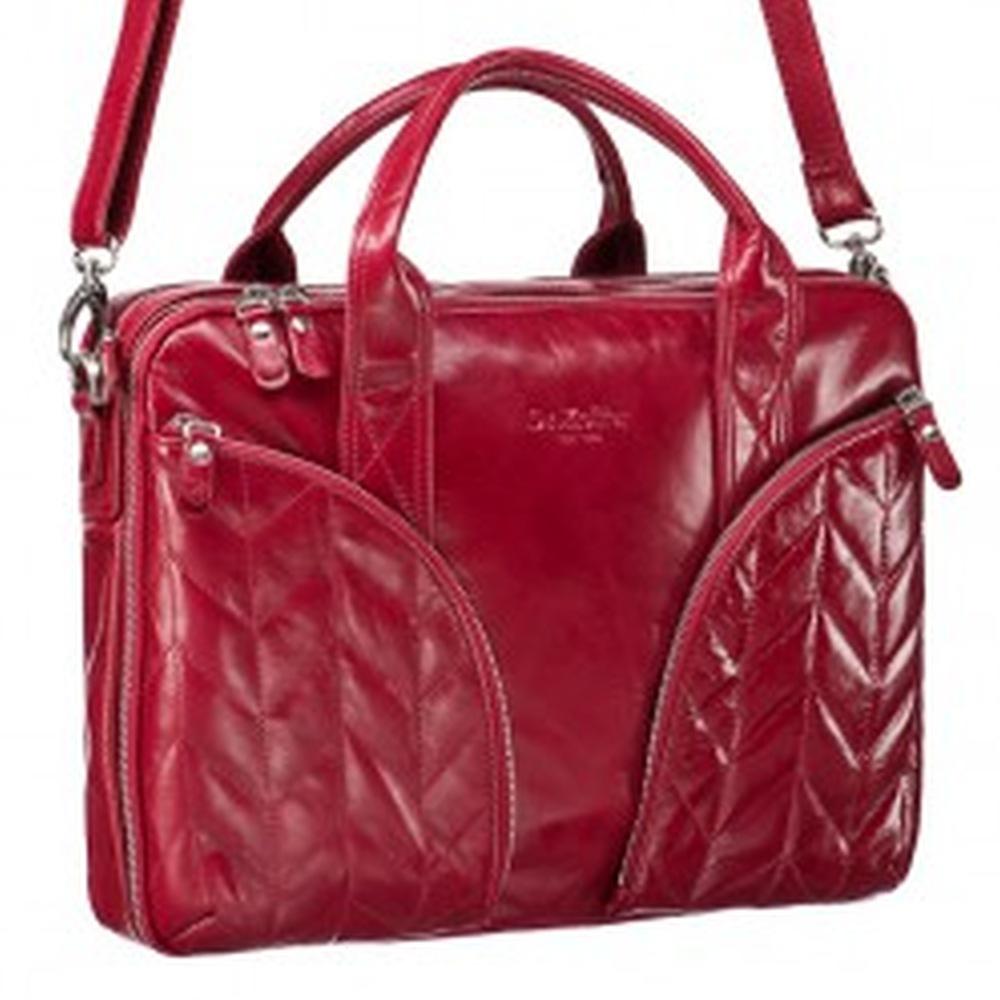 Женская деловая сумка из красной кожи с отделением для ноутбука Dr.Koffer B402372-114-12